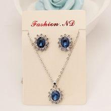 Conjunto de terno azul marinho de alta qualidade, jogo de colar com pedras preciosas para a imitação da princesa real azul