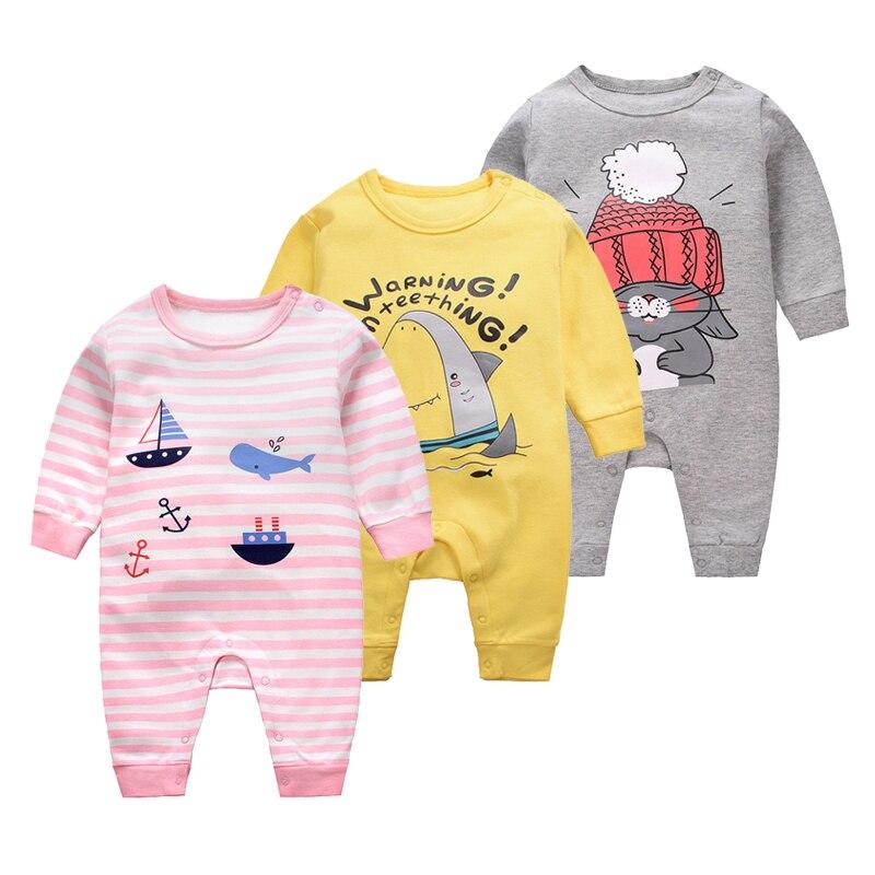 100% Katoen Pasgeboren Baby Kleding Lange Mouwen Cartoon Rompertjes Jongens Meisjes Outfit Jumpsuit Peuter Kostuum Baby Herfst Pyjama Druppel Droog