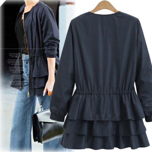 Zipper Casual Ruffles Trench Coat for Women Autumn Style O-neck Loose Slim Trench Solid Outerwear 2