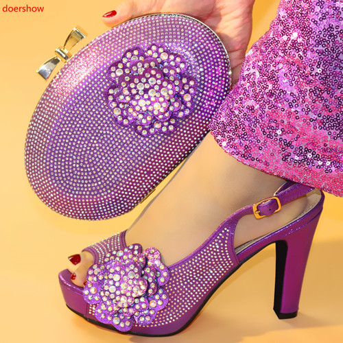 doershow New purple color Italian Shoes With Matching Bags African Women Shoes and Bags Set For Prom Party Summer Sandal!HXX1-16doershow New purple color Italian Shoes With Matching Bags African Women Shoes and Bags Set For Prom Party Summer Sandal!HXX1-16