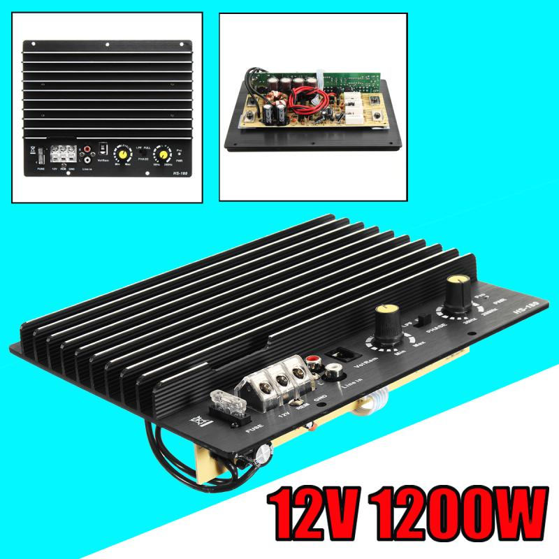 12V 1200W 100A Amplifier Board Mono Car Audio Power Amplifier For 8/10 Inch Speaker yiyelang yh 128 1200w car amplifier audio installation wires cables kit red blue