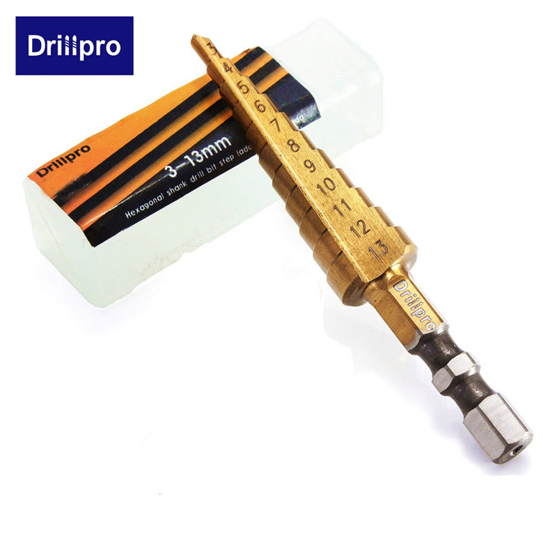 Drillpro 1pc 3-13mm HSS Titanium Coated Stepped Drill Bit Power Tools Carbide Core Drill Bit Set Wood Drilling Hot Sale
