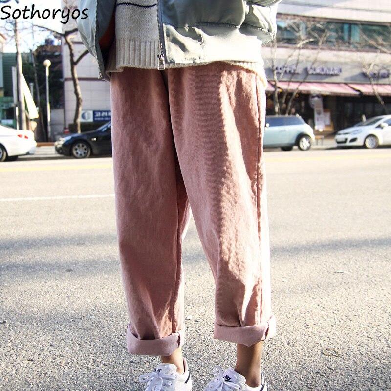 Pants Women Corduroy High Quality Trendy Pink Soft Korean Style Womens All-match Elegant Harajuku Long Trousers Students Female