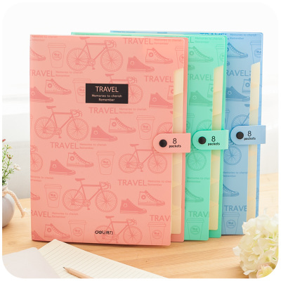 Fashion Cute Office File Folders 5 Pocket/8 Pocket Expanding File Folder With Button A4 Plastic Document File Organizer Bag coloffice 1pcs cartoon cute flamingo filing production 20 sheets expanding folder multi function clip file document file folders