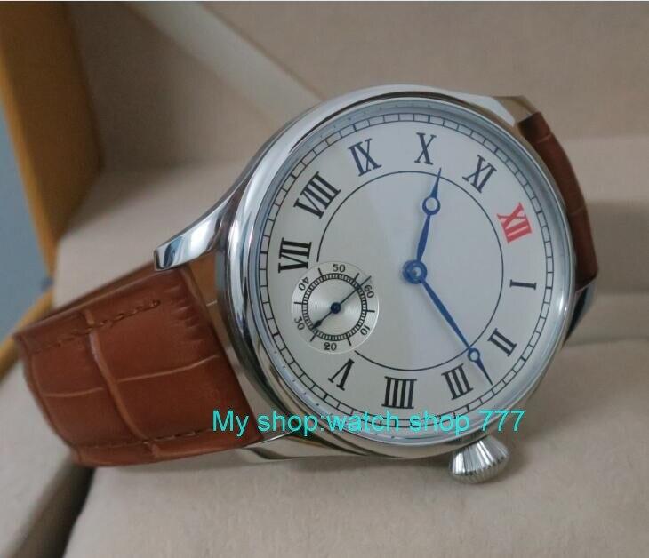 44mm parnis 화이트 다이얼 아시아 6498/3621 기계 손 바람 남자 시계 기계식 시계 도매 389-에서기계식 시계부터 시계 의  그룹 1