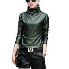 Plus size 4XL t-shirts women harajuku sexy long sleeve Turtleneck velvet t shirt female tops american apparel PU Leather