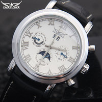 men mechanical watches Jaragar brand casual men's automatic Moonphase genuine leather strap watches black auto date wristwatches
