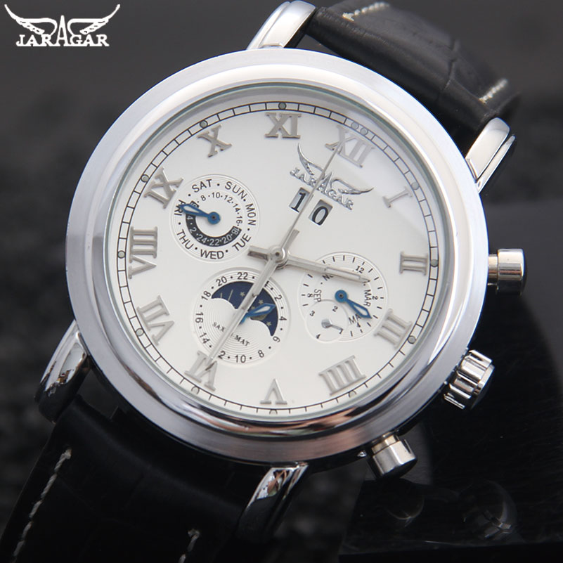 men mechanical watches Jaragar brand casual men's automatic Moonphase genuine leather strap watches black auto date wristwatches men mechanical watches jaragar brand casual men s automatic moonphase genuine leather strap watches black auto date wristwatches