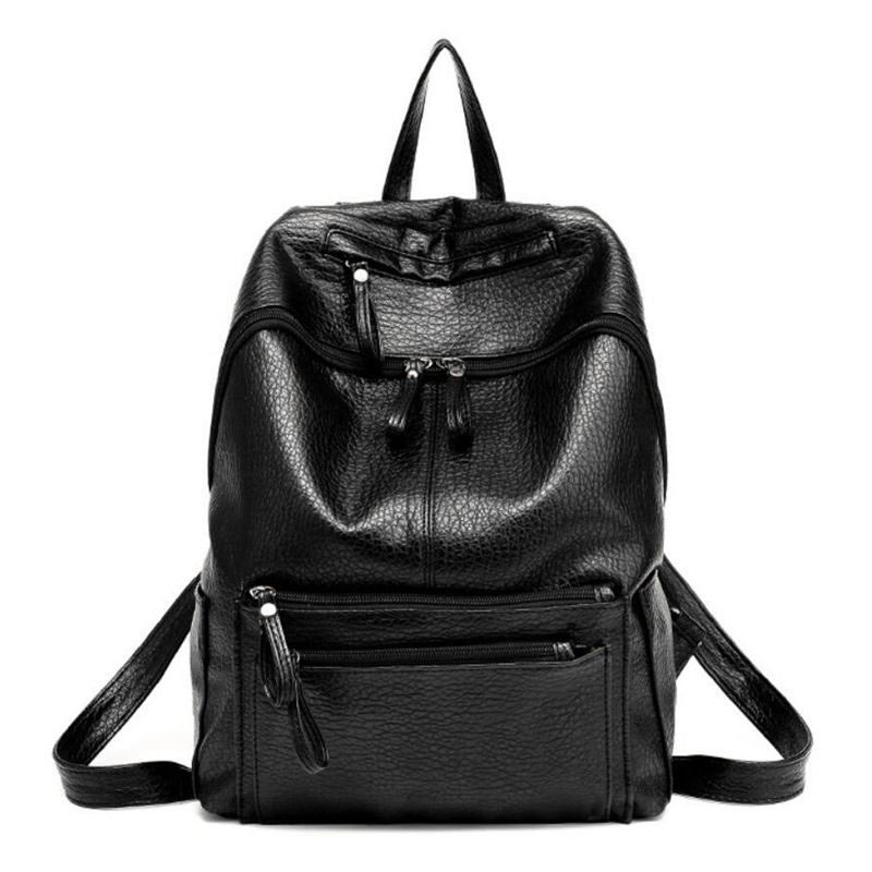 2017 Women Backpack Fashion Leather Shoulder Bags Black Travel Bag Rivet Backpack Luxury Women Bags Mochila
