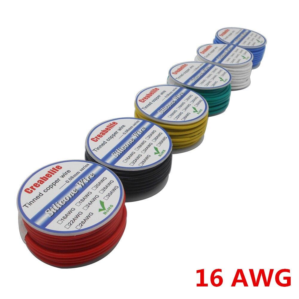 Câble RC fil Silicone Flexible 10m 16 AWG | OD 3.0mm ligne 6 couleurs à sélectionner avec bobine, fil électrique en cuivre étamé