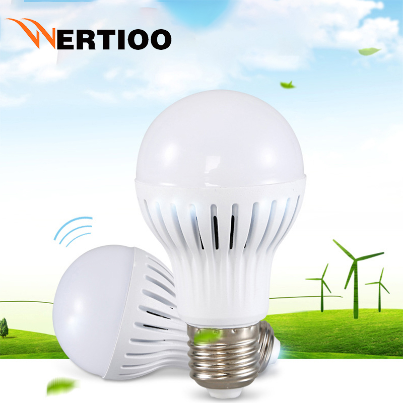 WERTIOO LED PIR Motion Sensor Lamp Bulb E27 3w 5w 7w 9w automatic Smart Led PIR Infrared Body Sound + Light Motion Sensor Light litake led bulb lamp energy saving motion activated light bulb e27 9w pir infrared motion sensor light pir stairs night light