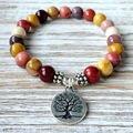 Sn1071 design superior qualidade higg mookaite jasper pulseira da moda yoga pulseira árvore da vida jóias por atacado