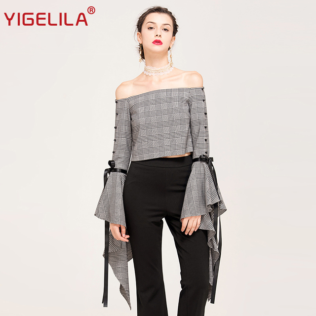 ccf210789a04 YIGELILA Brand 7411 Latest 2017 New Women Fashion Sexy Slash Neck Off  Shoulder Flare Sleeve Shirt Tops