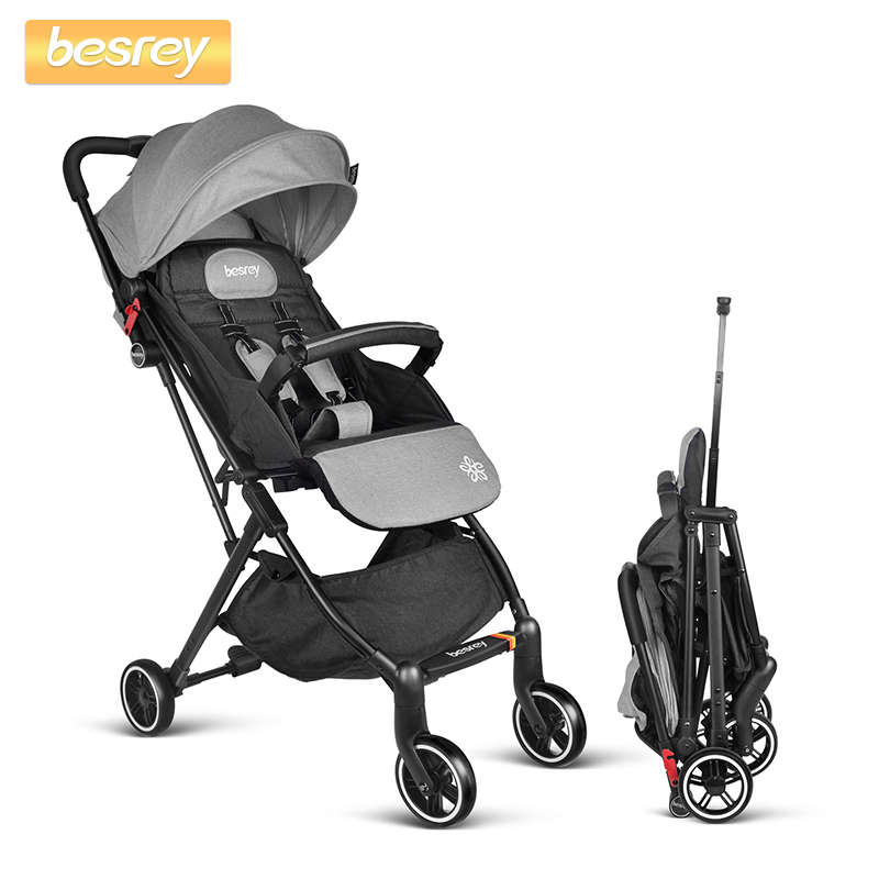 Besrey Baby Folding Stroller Lightweight for Newborn in Four Wheels Baby Trolley Travel Kids Carriage Pram