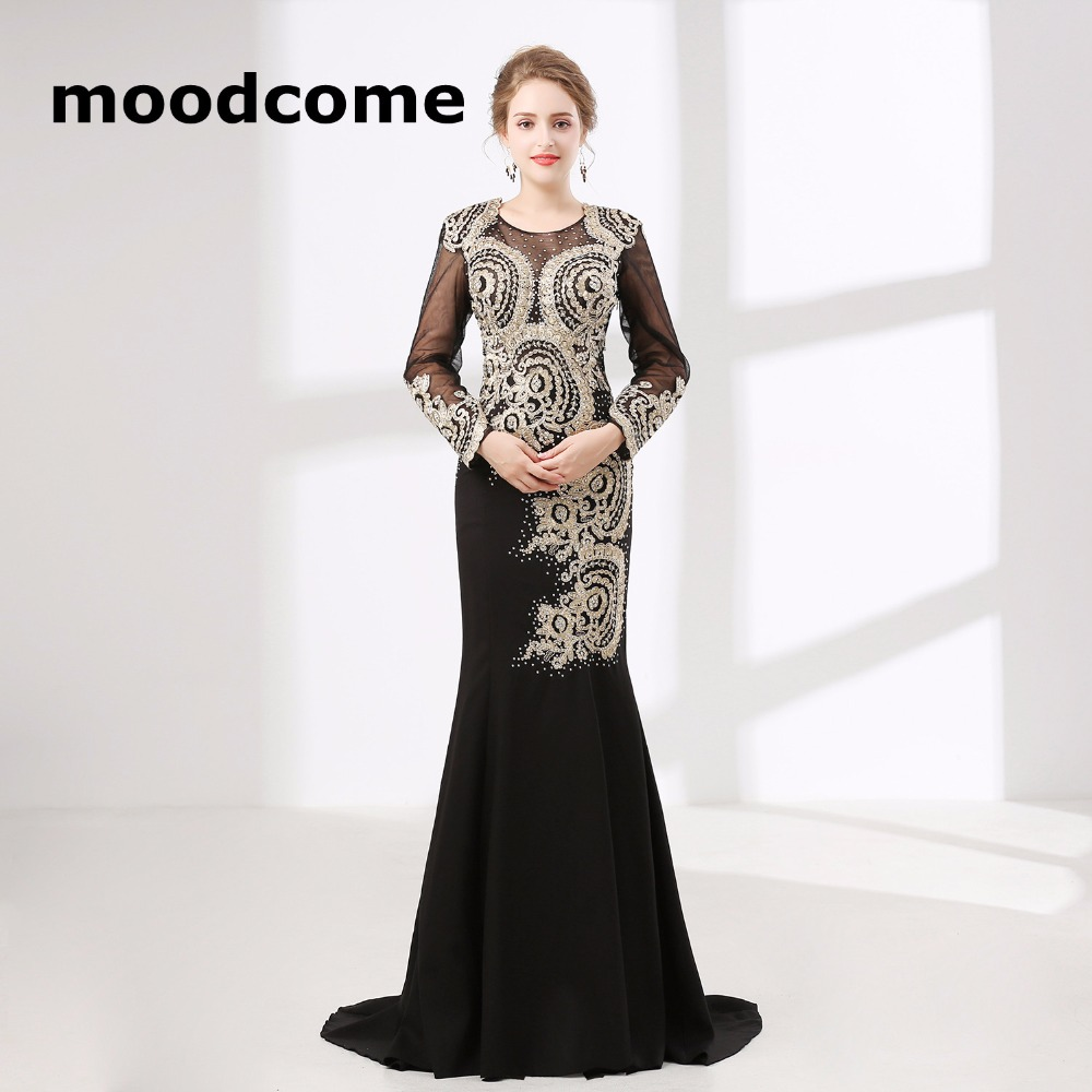 2018 Vintage Cheap Prom Dresses Mermaid Long Sleeve Lace Crystal Black  Custom Made Plus Size Formal ...