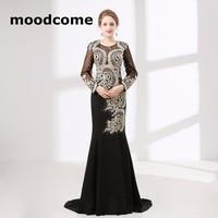 2018 Vintage Goedkope Prom Dresses Mermaid Lange Mouwen Lace Crystal Black Custom Made Plus Size Formele Evering Toga
