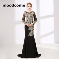 2018 Vintage Cheap Prom Dresses Mermaid Long Sleeve Lace Crystal Black Custom Made Plus Size Formal Evering Gowns
