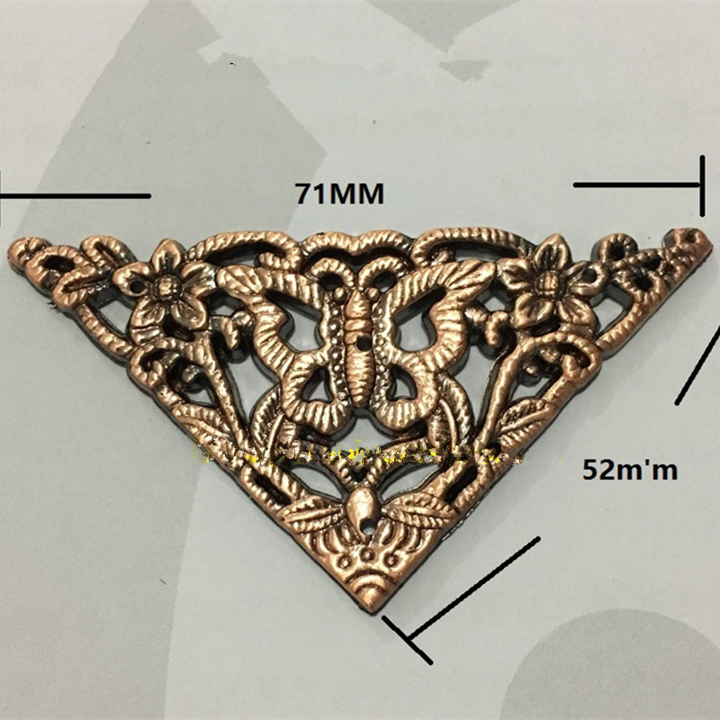 Plastic Wooden Box Coner,Wine Box Protector,Embellishment Findings Triangle Corners Antique Butterfly,2Pcs,52mm square corners hanging antique copper 2 candelabra sockets clear glass