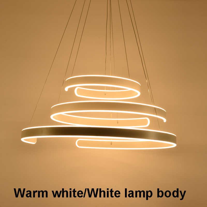 AC90-264VModern подвесные светильники для гостиной столовой геометрические круглые кольца акриловые алюминиевые светодиодное потолочное освещение лампы