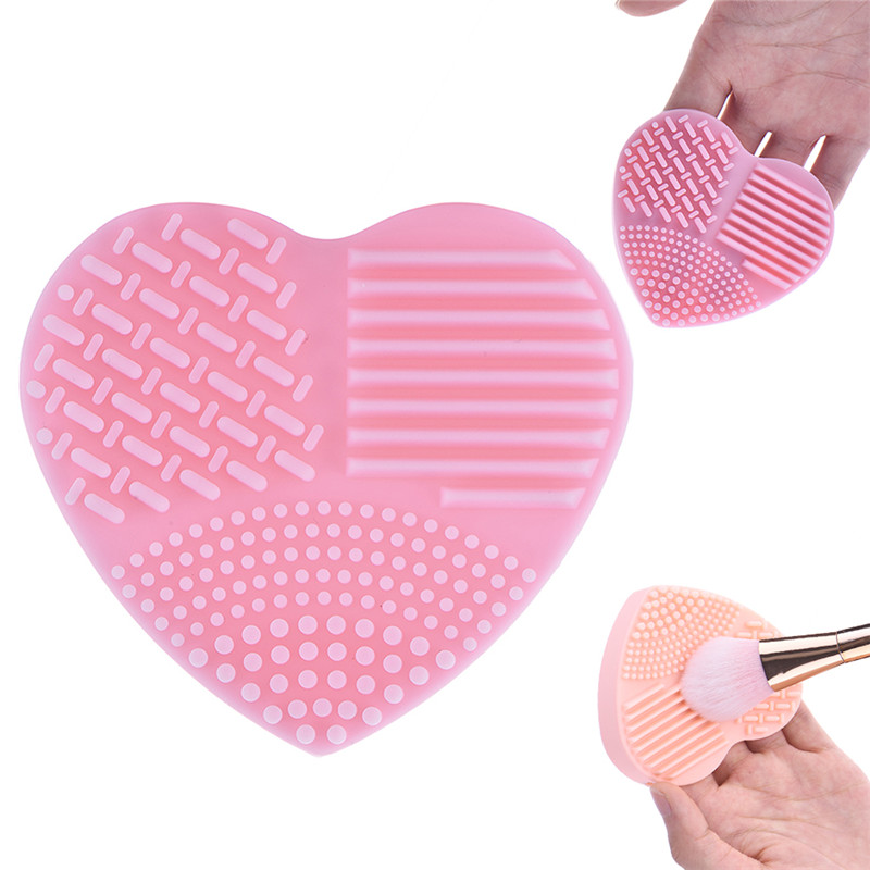 MOONBIFFY Colorful Heart Shape Make up Brushes Wash Brush Silica for makeup brushes