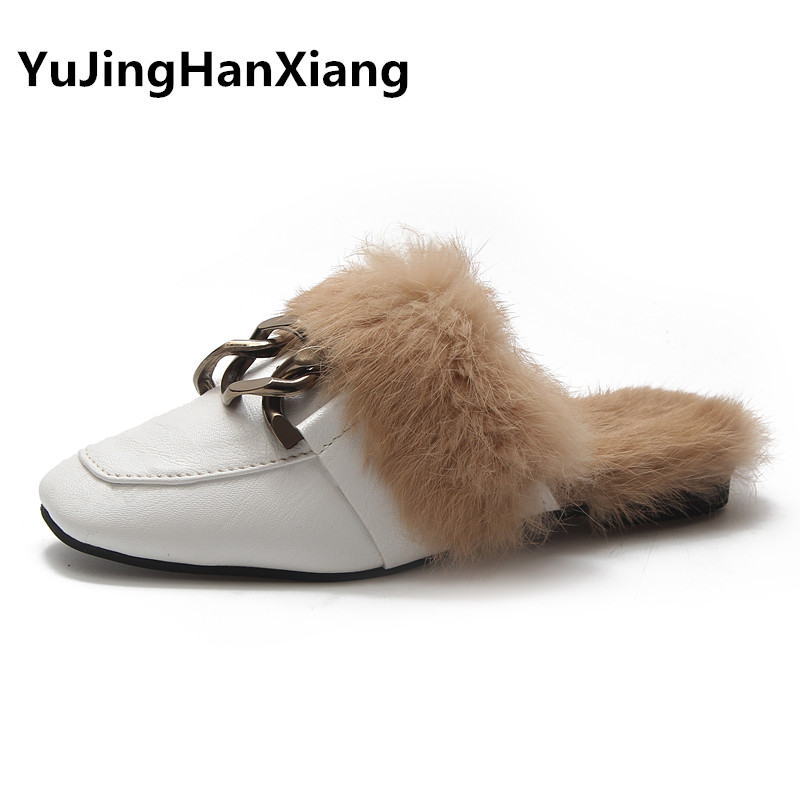все цены на New Arrivals Winter Slippers Women Faux Fur Slides Ladies Flip Flops 2018 Casual Womens Mules Flat Heel Outdoor Women's Slippers