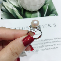 New Design S925 Sterling Silver Natural Freshwater Pearl Finger Engagement Rings For Women Fashion Authentic S925 Fine Jewelry