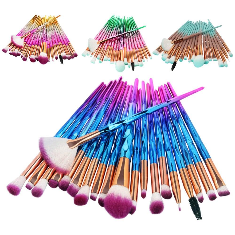 20pcs/Set Multi-color Soft Cosmetic Complete Eyeliner Eyeshadow Brow Lip Foundation Makeup Brushes Set with Diamond Shape Handle