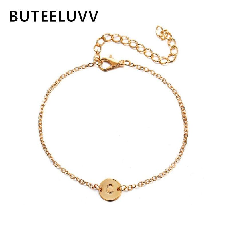 BUTEELUVV Minimalist A to S Letter Bracelet for Women BFF Birthday Gift Elegant 26 English Alphabet Round Chain Bracelet Jewelry