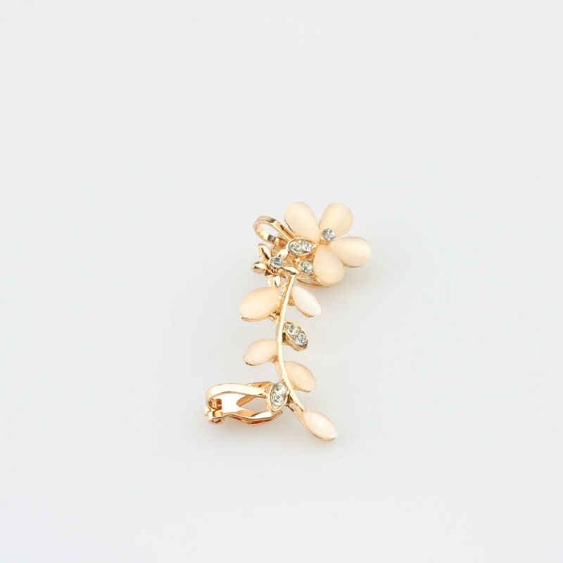 イヤリングプロモーション 2018 新発売工場トレンディイヤリング 1 ピースファッションシックなオパール葉耳カフ金色女性のラップジュエリー