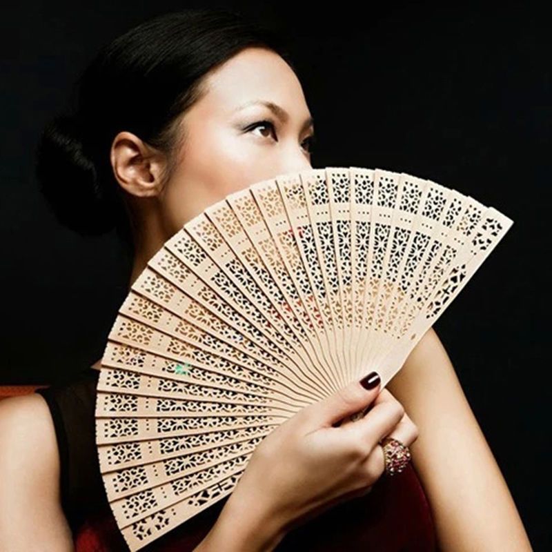 Hot Selling Bamboo Wooden Fan Fragrant 20cm Home Decoration Crafts Summer Art Folding Carved Hand Fans Women