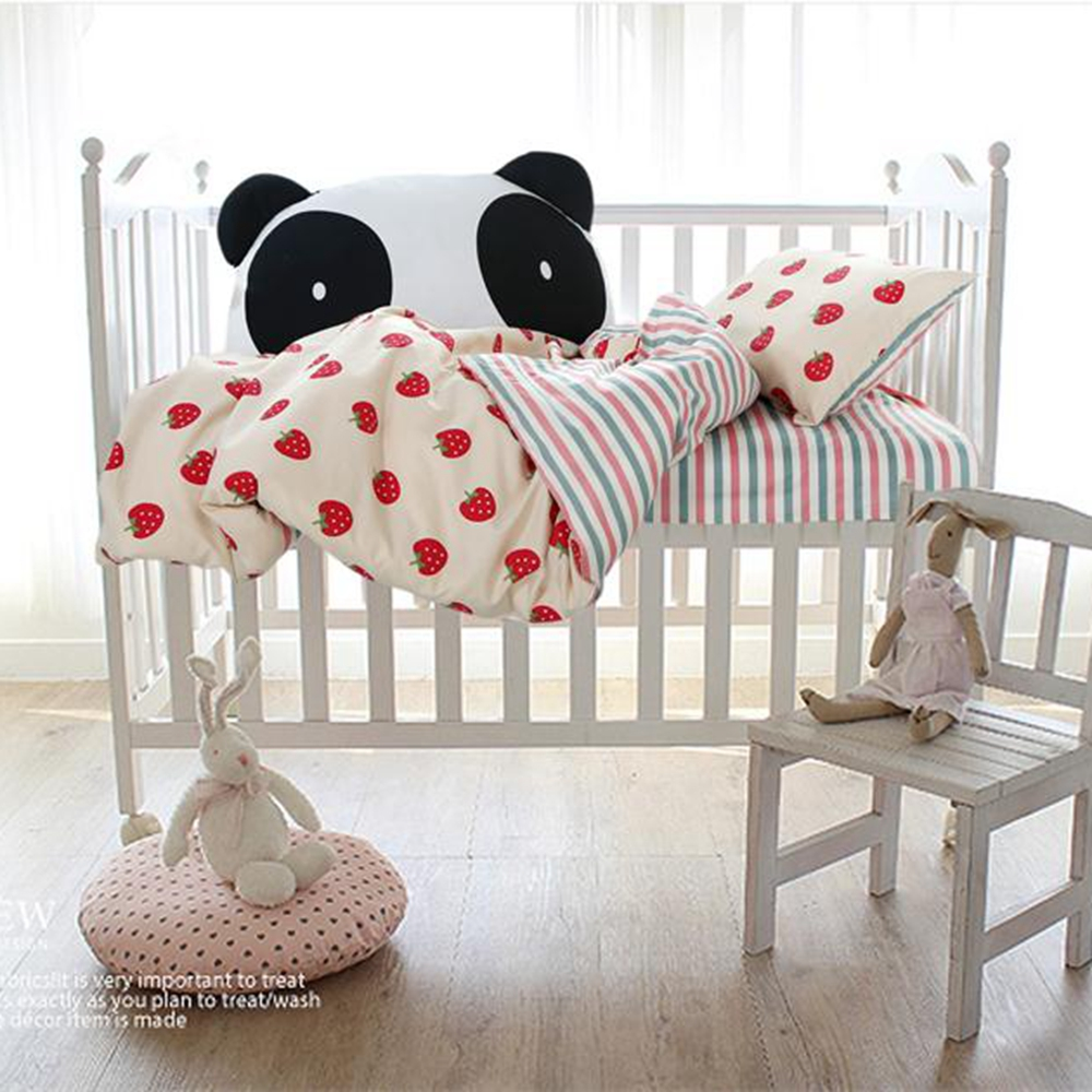 Brazilian embroidery bedspread designs - Cute Colorful Stripes Bedspread Strawberry Quilt Cover Pillowcase Girls Boys Coverlet Baby Crib Cotton Bedding