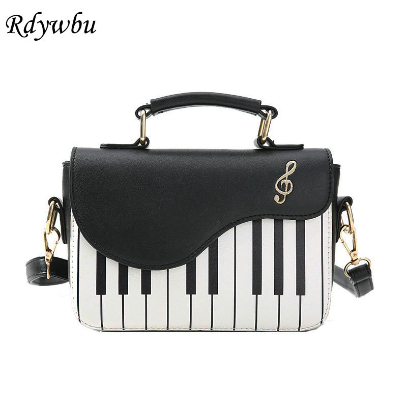 Rdywbu Piano Pattern Pu Leather Shoulder Bag Women Fashion Flap Handbag Music Embroidery Crossbody Messenger Bag Pouch Tote B583 rdywbu candy color rivet chain shoulder bag women new pearl pu leather flap handbag girls fashion crossbody messenger bag b430