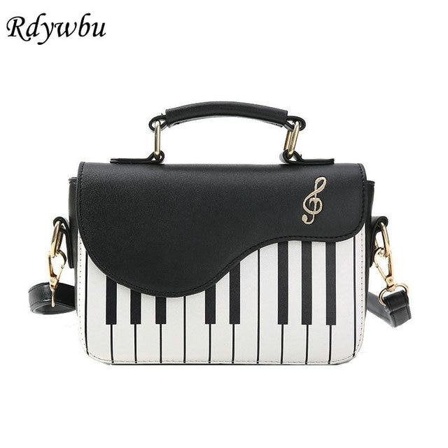 Rdywbu Piano Pattern Pu Leather Shoulder Bag Women Fashion Flap Handbag Music Embroidery Crossbody Messenger