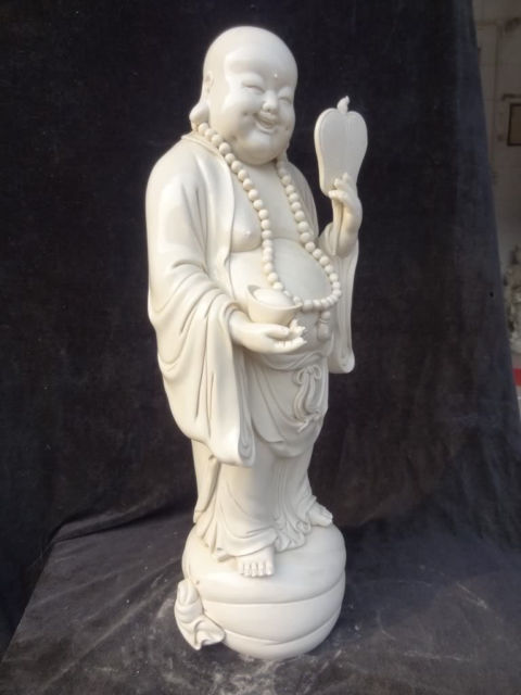 55 9 cm Elaborate Chinese Dehua white porcelain laughing Buddha statue in Statues Sculptures from Home Garden