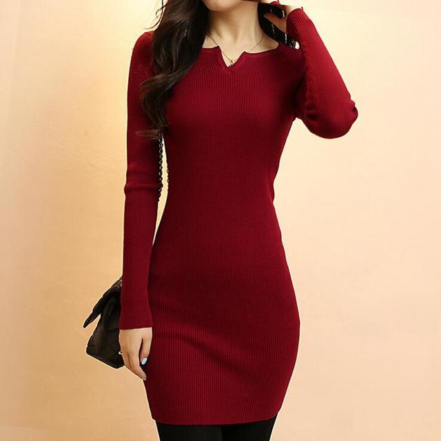 Новый Дизайн Свитер Dress Для Женщин 2017 Осень Зима Повседневная Пуловеры Перемычка Sexy V шеи Bodycon Основные Вязаный Свитер Dress