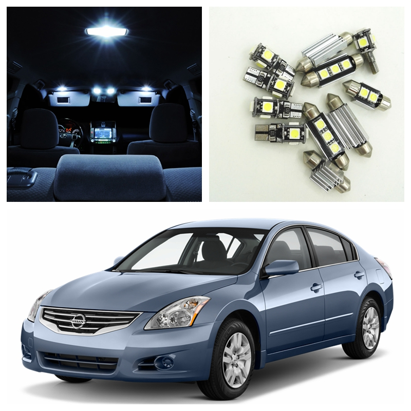 10pcs White LED Light Bulbs Interior Package Kit For 2007-2012 Nissan Altima Sedan Map Dome License Plate Lamp Nissan-B-02  power window driver door switch for nissan altima 2007 2012 25401 zn50c