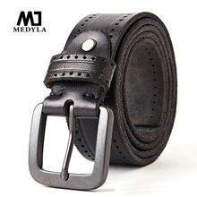 MEDYLA mode Vintage Original peau de vache hommes en cuir véritable ceinture en alliage boucle ardillon jean noir ceinture pour hommes MD535 livraison directe