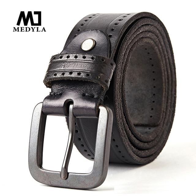 Medyla Fashion Vintage Originele Koeienhuid Mannen Echt Lederen Riem Legering Pin Gesp Jeans Zwarte Riem Voor Mannen MD535 Dropship