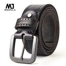 Medylaファッションヴィンテージオリジナル牛革メンズ本革ベルト合金ピンバックルジーンズ男性MD535 ためのドロップシップ