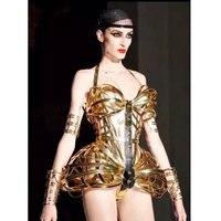 Golden openwork armor Jumpsuit future space warrior bar gogo costume Dj Dancers Sexy Nightclub DS Singer Rave Clothes Stage Wear