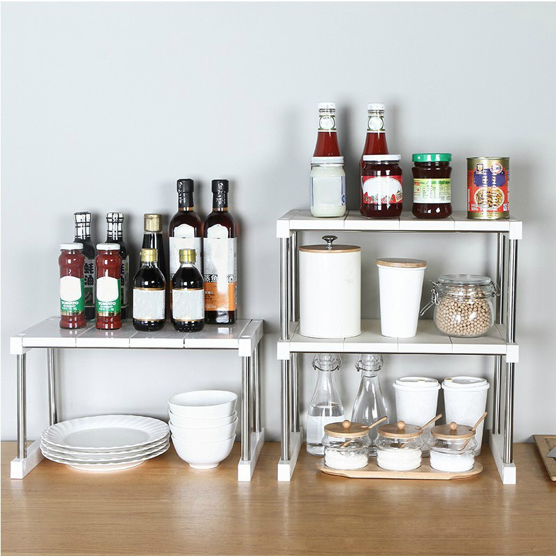Us 13 41 32 Off Multifunctional Kitchen Cabinet Counter Shelf Organizer Expandable Stackable For Dish Sauce Hogard Dc21 In Storage Holders Racks