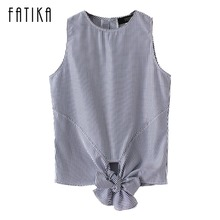 FATIKA 2017 New Fashion Summer Cotton Shirt Boat neck Striped Bow Tank Tops Off Shoulder Short Casual Blouse For Ladies