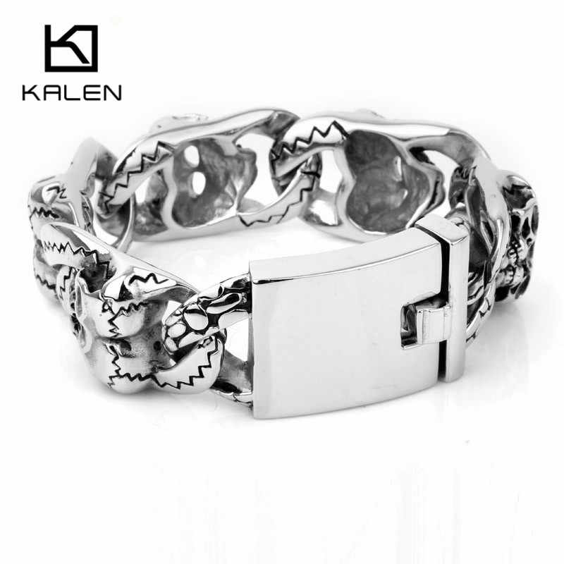 Kalen 20 سنتيمتر الفولاذ المقاوم للصدأ الثقيلة مكتنزة ربط سلسلة الرجال أساور الشرير الصخرة مزدوجة الجمجمة رئيس Charms سوار مجوهرات الإكسسوار