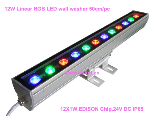 IP65,CE,good quality, high power Linear RGB LED wall washer,Linear 12W RGB LED wash light,12*1W,24VDC,DS-T11-50cm-12W-RGB, 24v 100 cm linear bar 60w rgb led wall washer light fcc saa ce