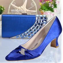 Fashion woman königlichen blau med low huf ferse spitz strass schuhe mit passender clutch-handtasche kristall party hochzeit prom