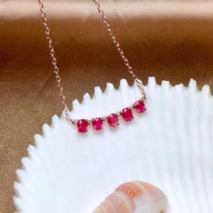 Image 2 - Einfache 925 Silber Natürlichen Rubin Halskette ist hoch empfohlen für Göttin Halskette
