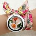 shsby New design  Ladies flower cloth wrist watch fashion women dress watch high quality fabric watch sweet girls watch