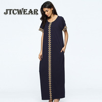 JTCWEAR Muslim Short Sleeve Dress Yellow /Green/Dark Blue Arab Turkey Middle East Woman Abaya Jalabiya Kaftan Long Dress 451