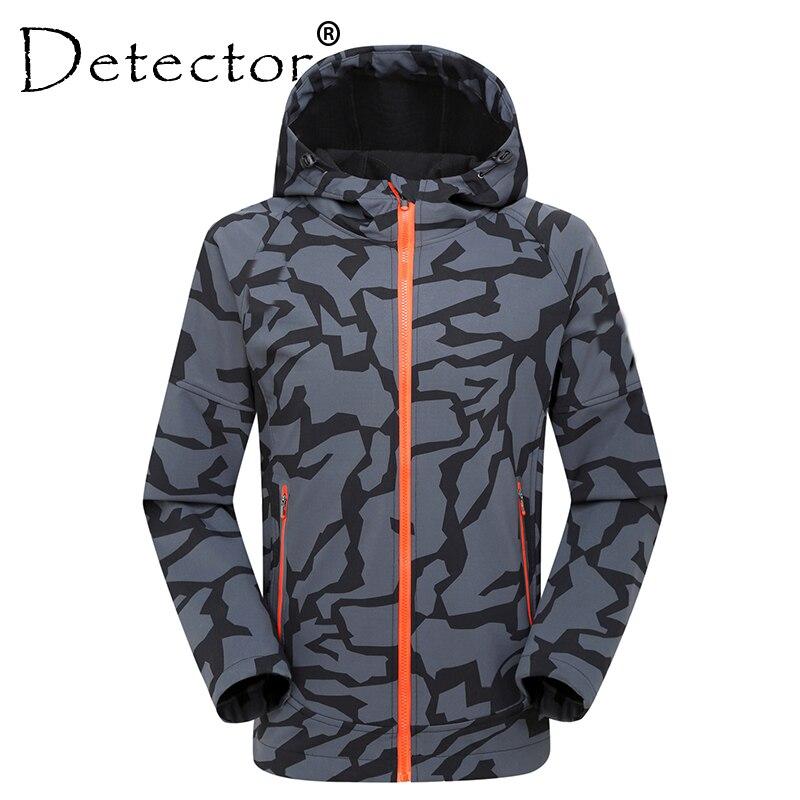 Detector Men Waterproof Breathable Thermal Softshell Jacket Outdoor Hunting Fishing Camping Hiking Rain Windbreaker hoodie