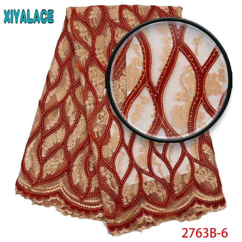 Último encaje nigeriano 2019 tela de encaje de terciopelo africano de alta calidad con piedras de tela de encaje francés naranja para vestido de fiesta 2763b-in encaje from Hogar y Mascotas    1